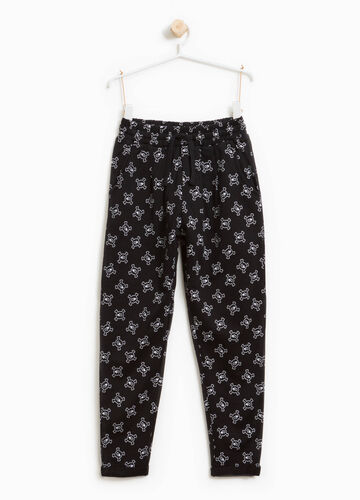 Cotton joggers with skulls print