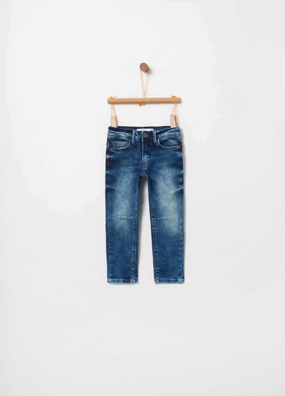 Straight-fit washed-effect stretch jeans