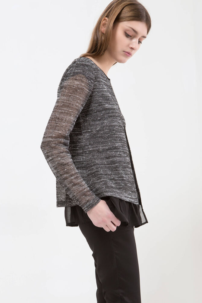 Mélange cardigan with faux layered effect.