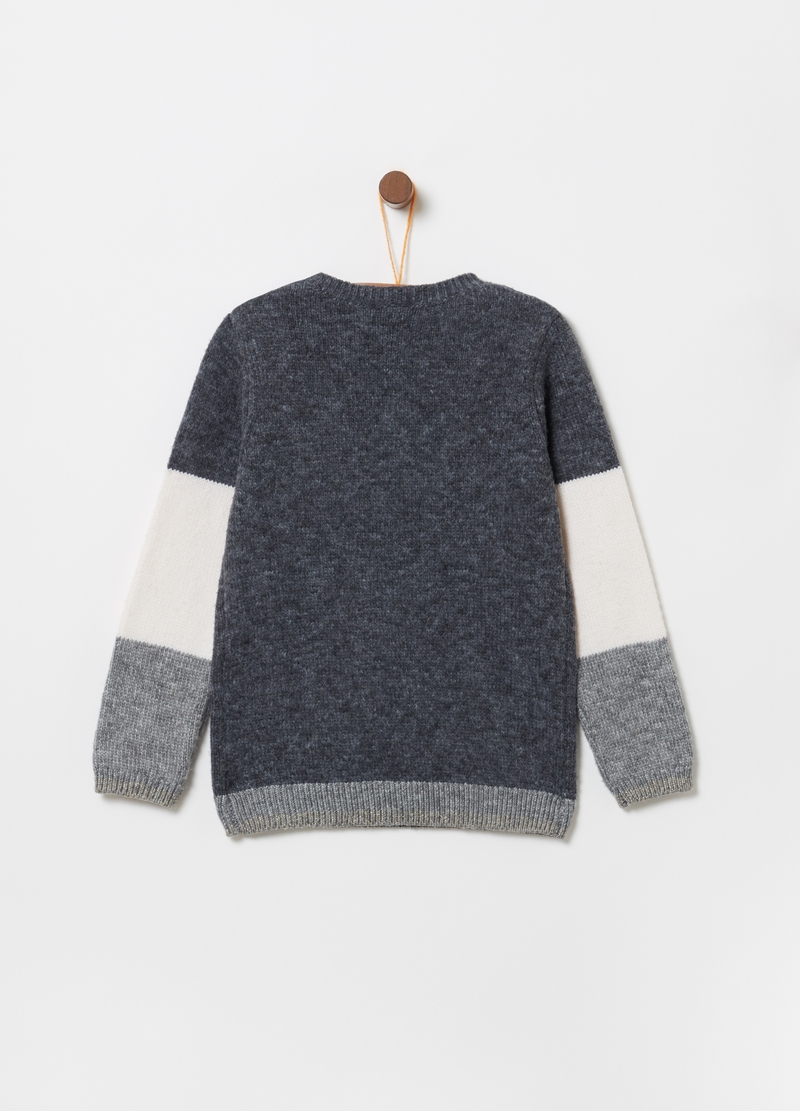 Pullover tricot ricamo animaletto e lurex image number null
