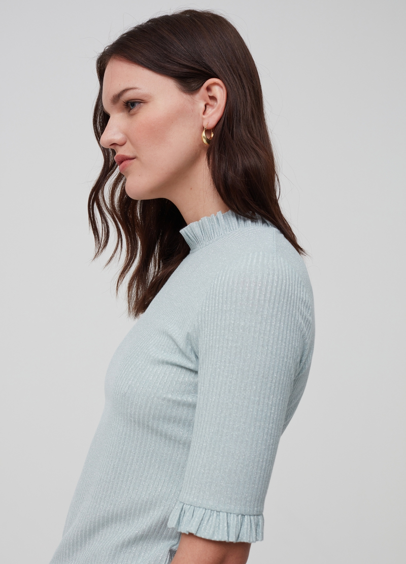 Fine-rib knit top with lurex image number null