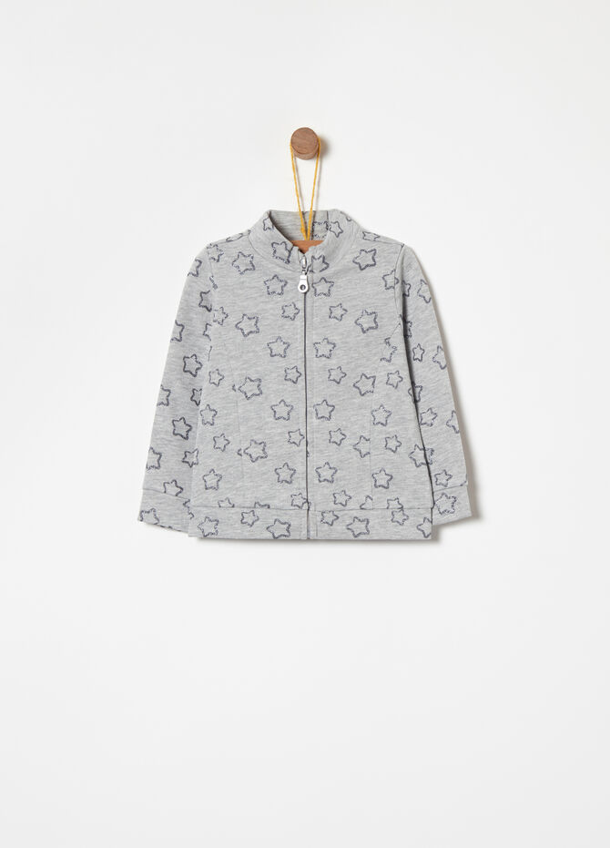 Warm cotton full-zip sweatshirt with print
