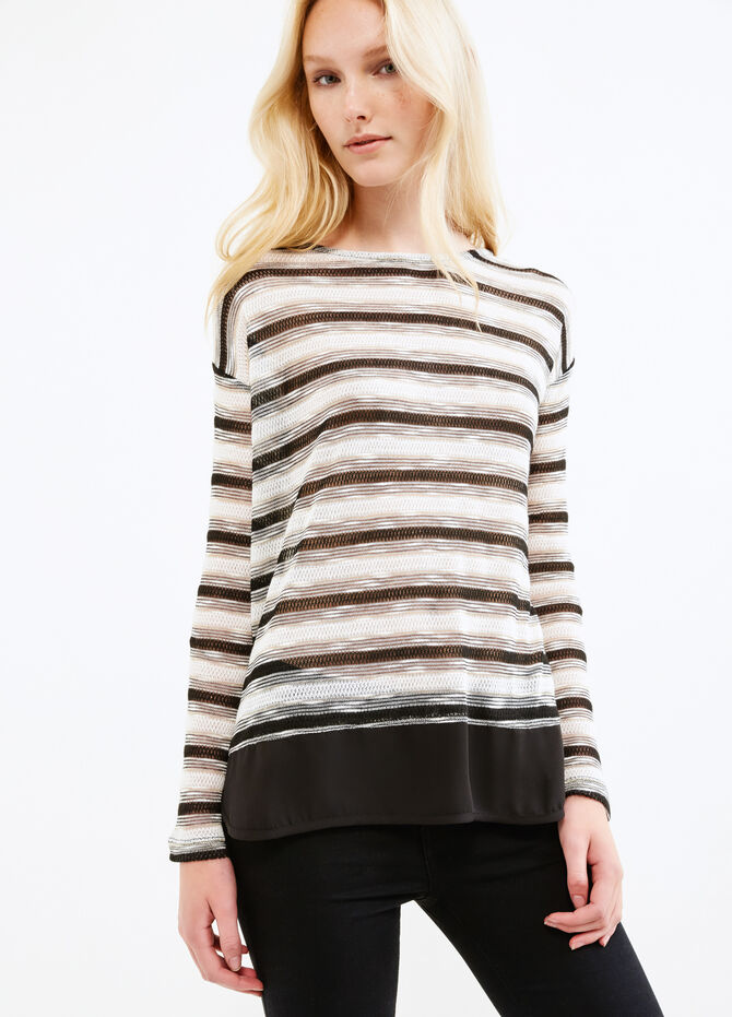 Viscose and lurex sweatshirt with striped pattern