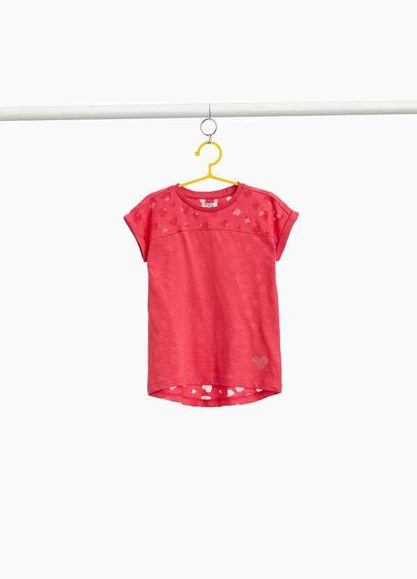 100% cotton T-shirt with heart pattern