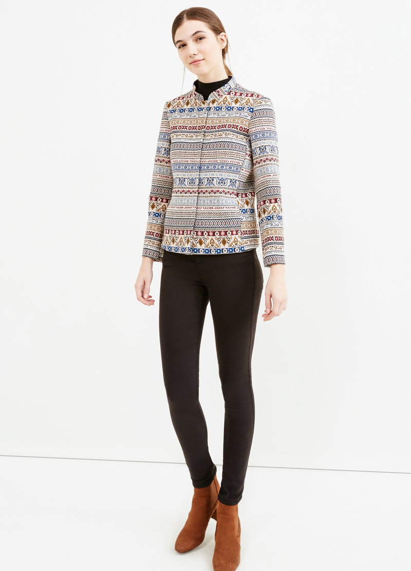 Stretch blazer with jacquard details image number null