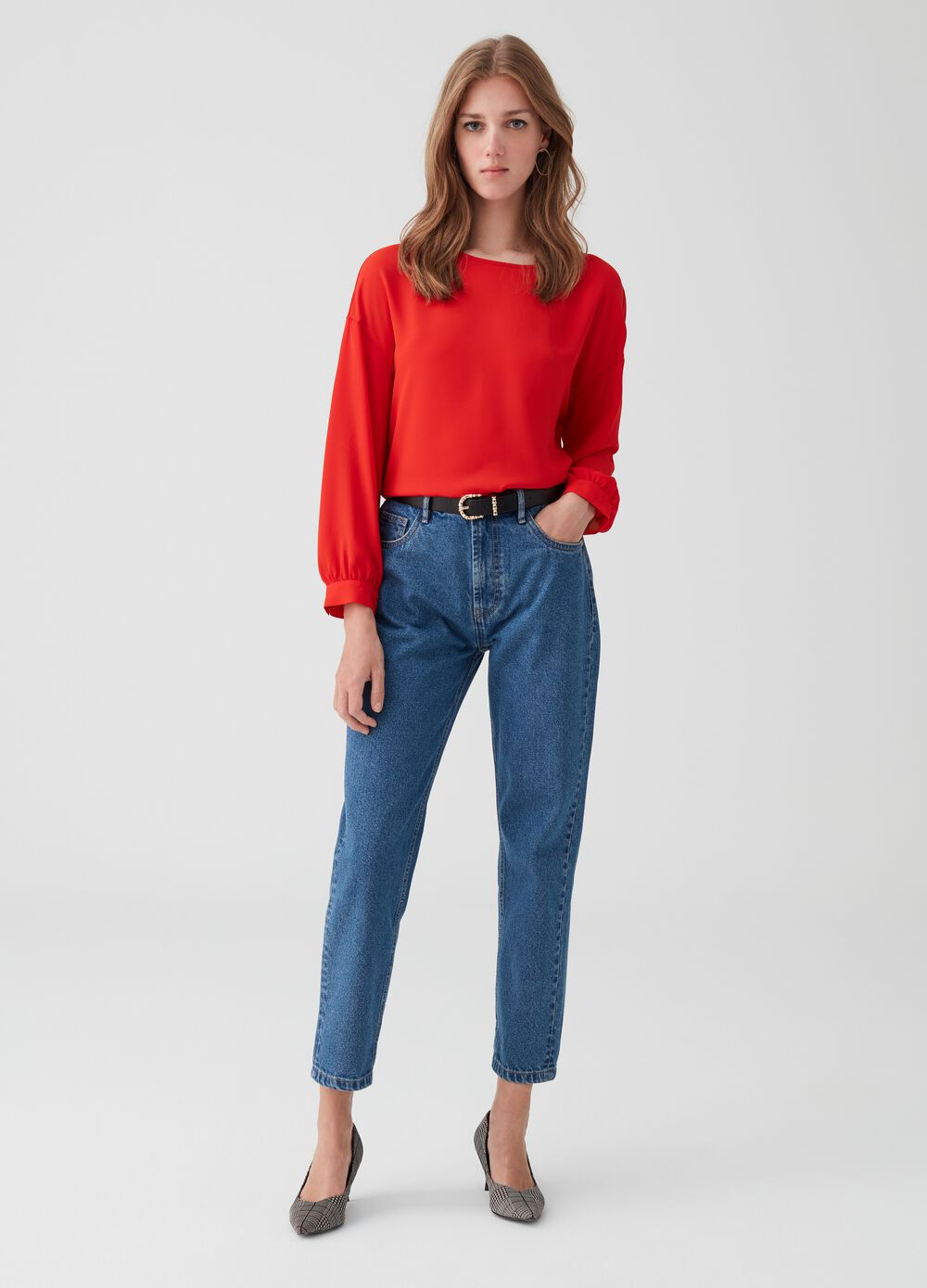 Long-sleeved crêpe blouse with bow on front