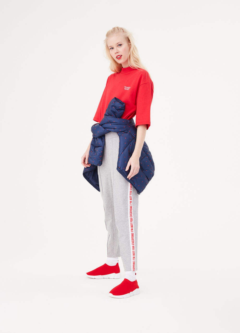 Fleece trousers with side bands