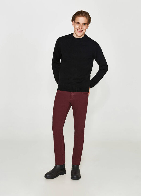 Pantaloni slim fit in misto cotone