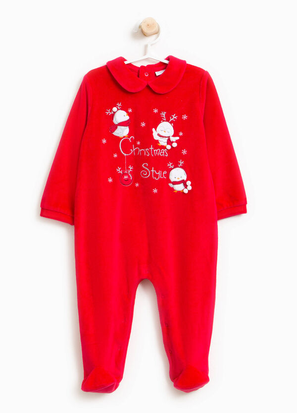 Cotton blend velour onesie with feet