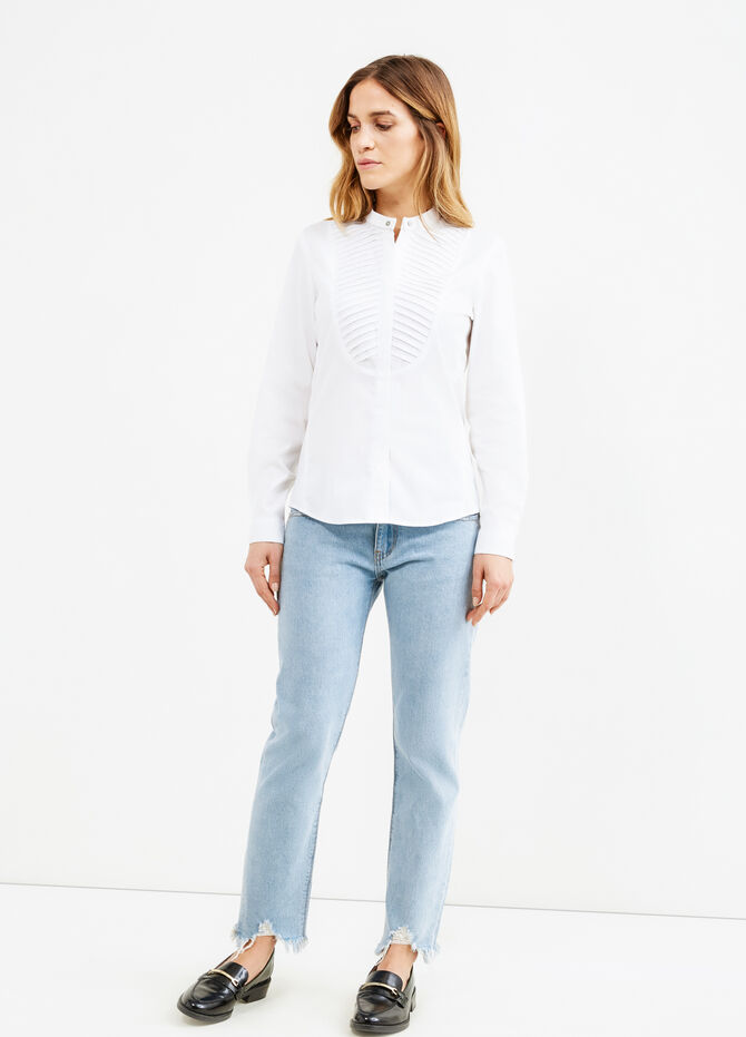 Shirt in poplin with pleating