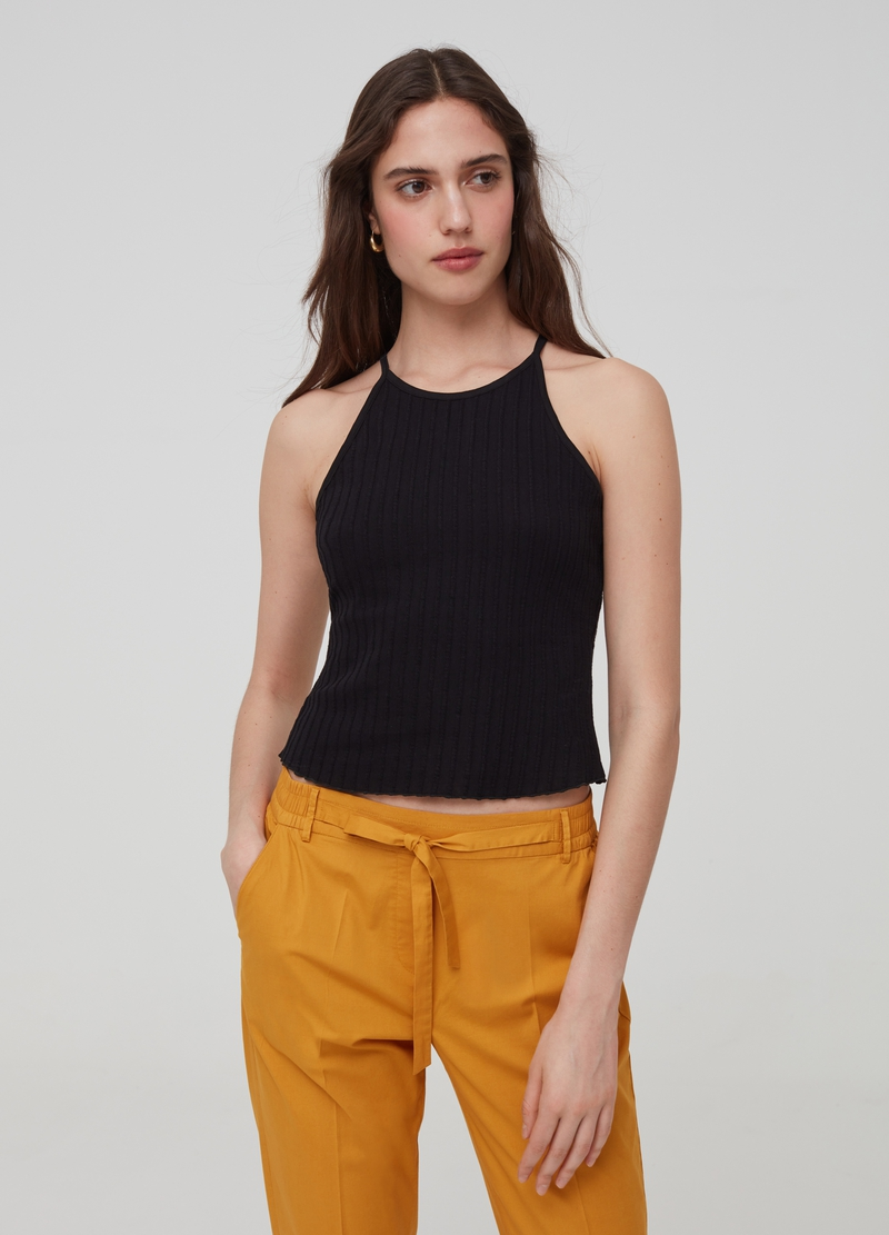 Solid colour ribbed tank top image number null