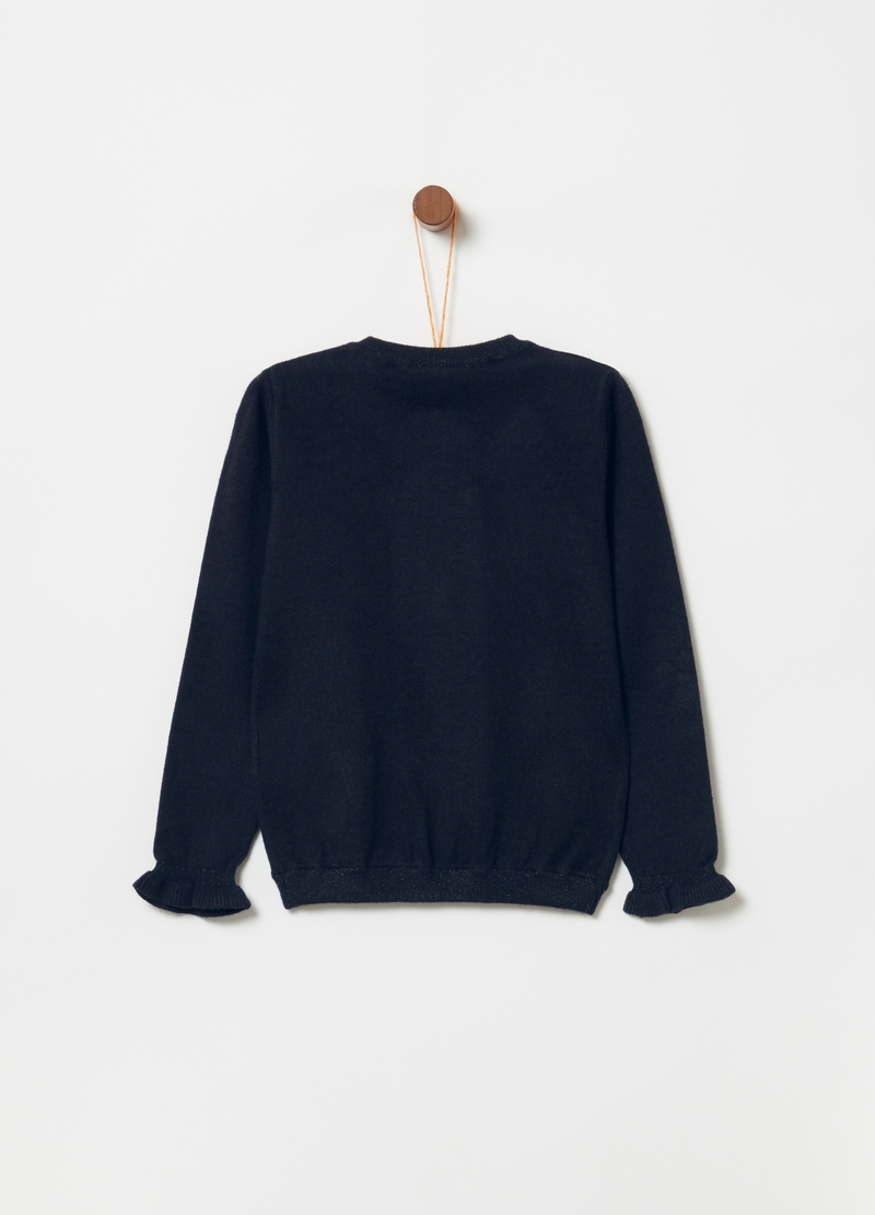 Cardigan con lurex e rouches image number null