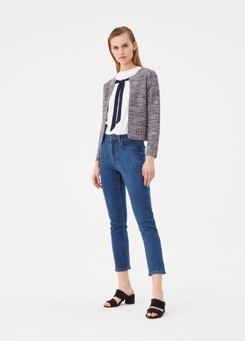 Tweed-effect jacket with knotted laces