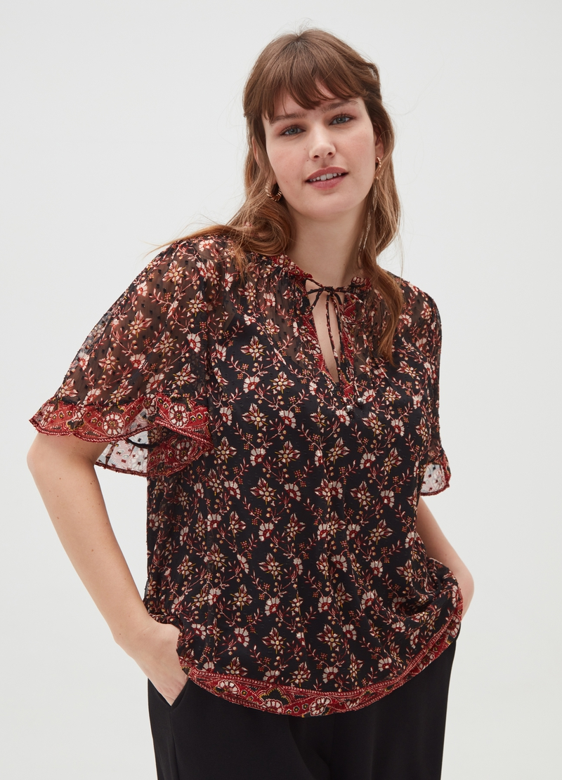 Curvy georgette blouse with all-over print image number null