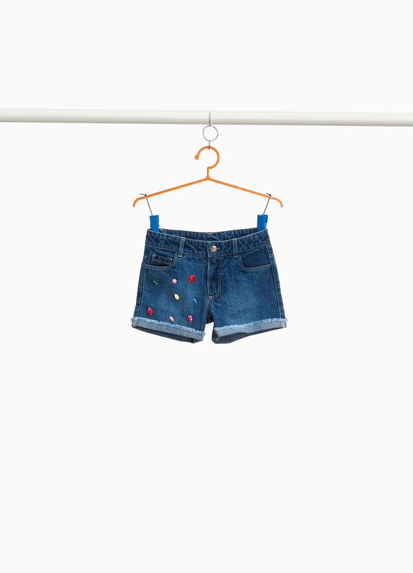 Washed-effect denim shorts with diamantés