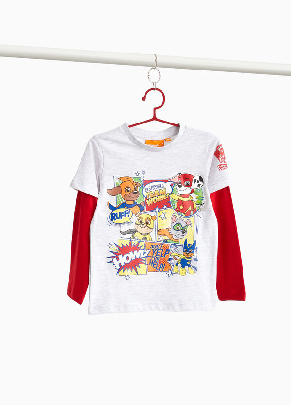 T-shirt with Super Pup Heroes print and faux layer