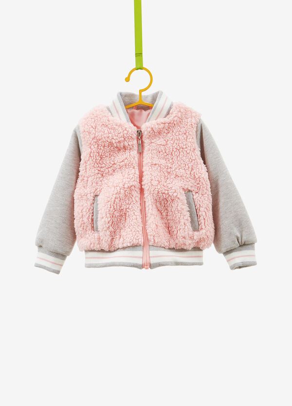 Faux fur bomber jacket with ribbing
