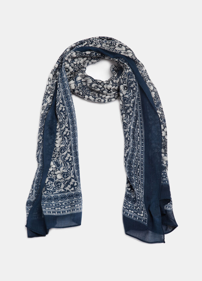 Floral print scarf in viscose