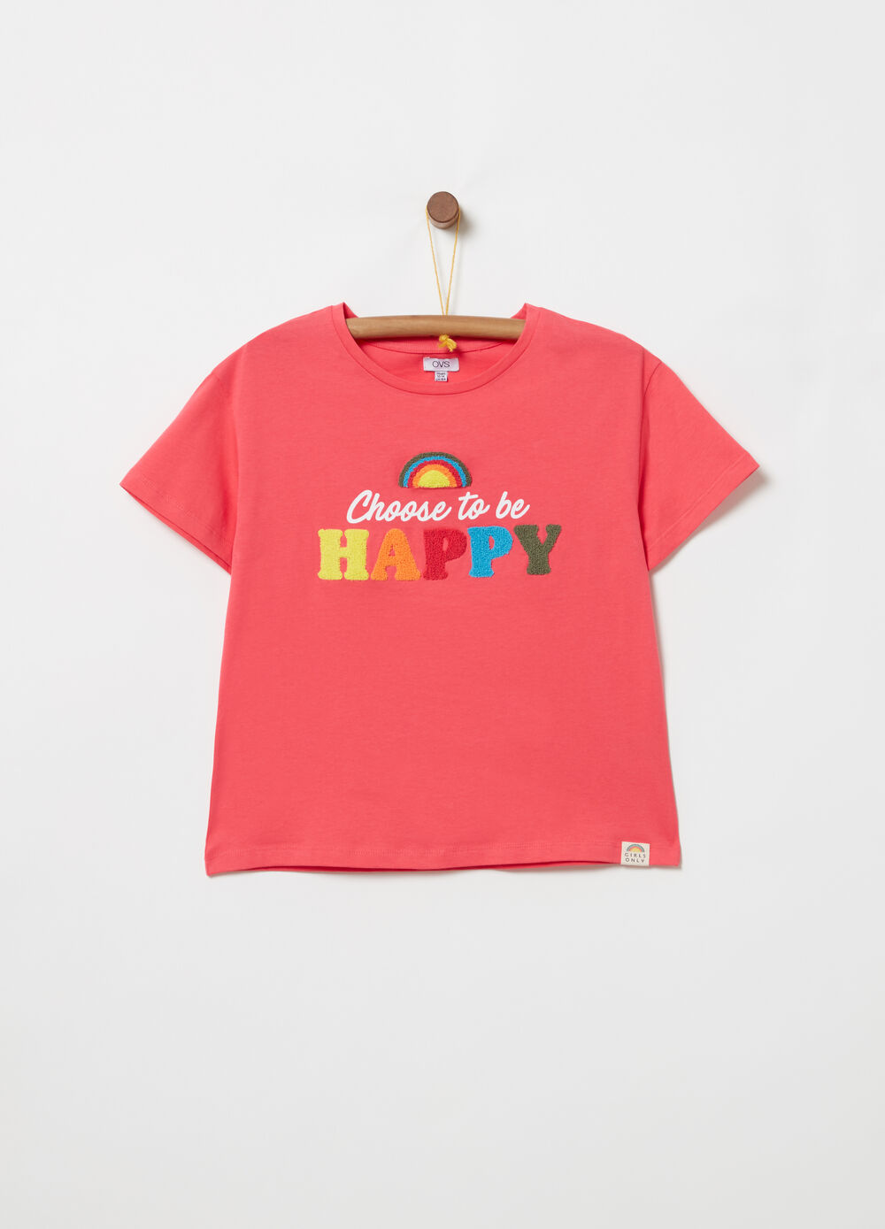 T-shirt with terry lettering applications