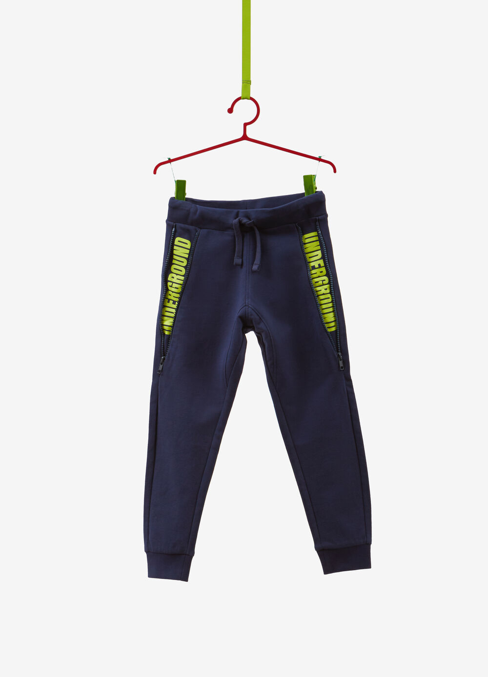 Trousers in 100% cotton with print and zip