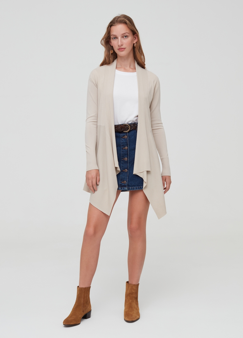 Solid colour asymmetric open cardigan image number null