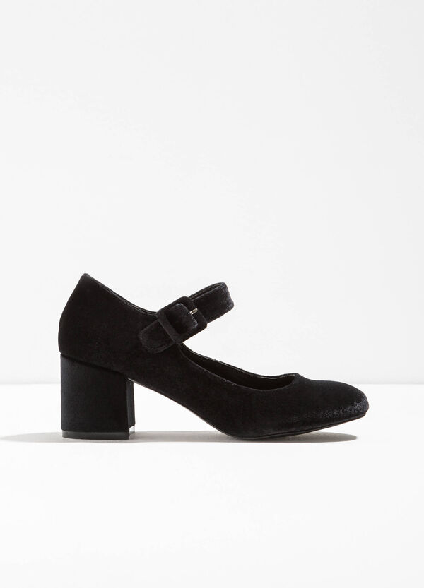 Shoes with wide velour heel | OVS