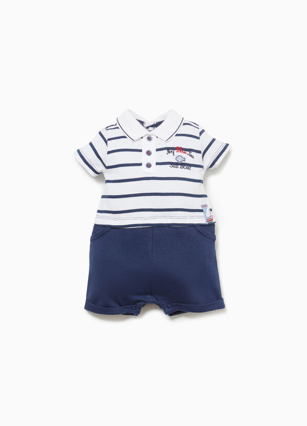 100% cotton romper suit with collar