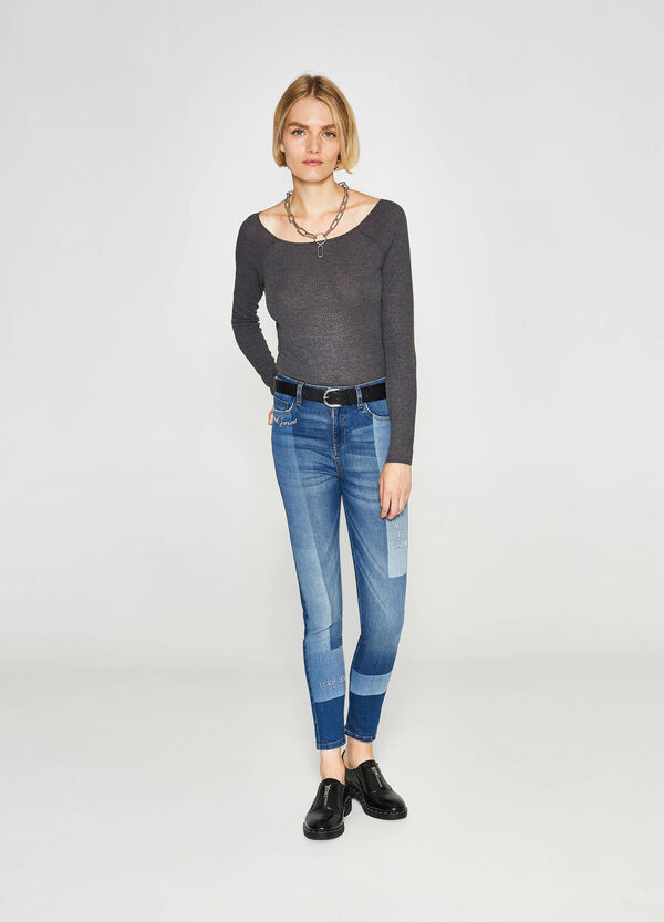 Jeans skinny fit stretch ricami lettering
