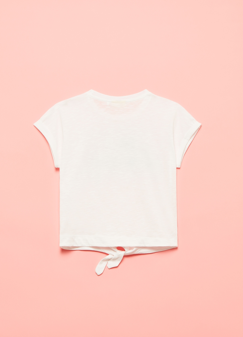 Slub cotton T-shirt with beads image number null