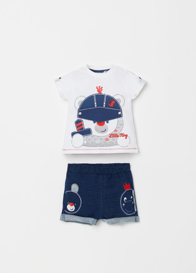 T-shirt and shorts set with applications and embroidery
