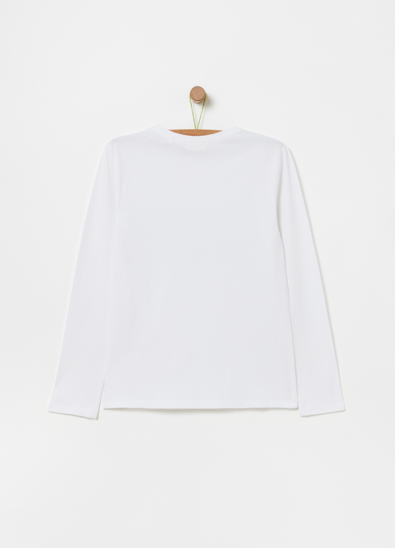 100% cotton T-shirt with long sleeves image number null