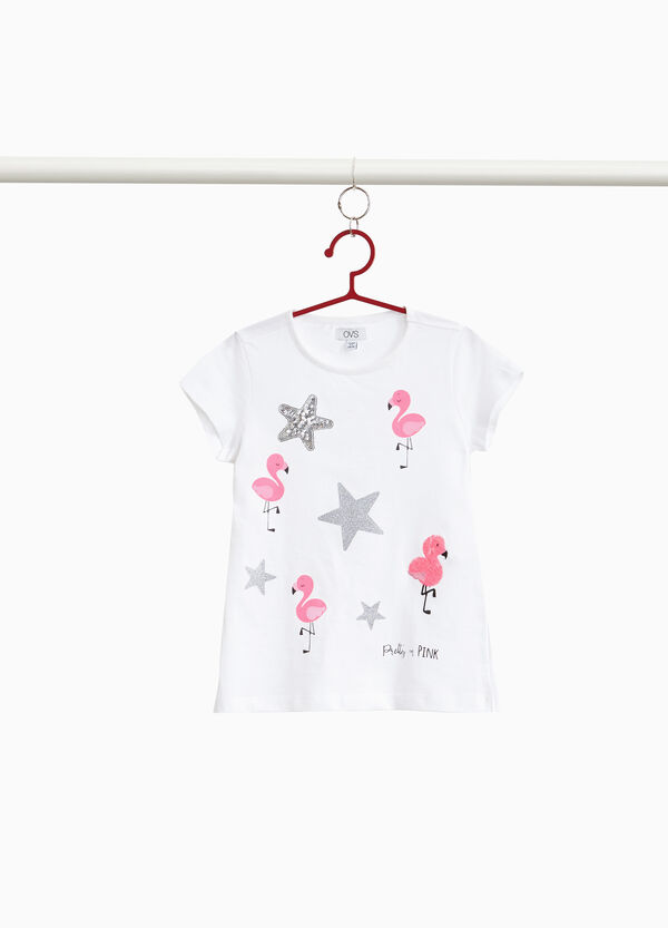 100% cotton T-shirt with flamingos and stars