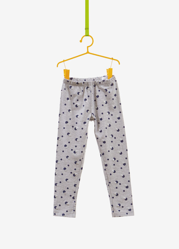 Stretch polka dots and hearts cotton leggings