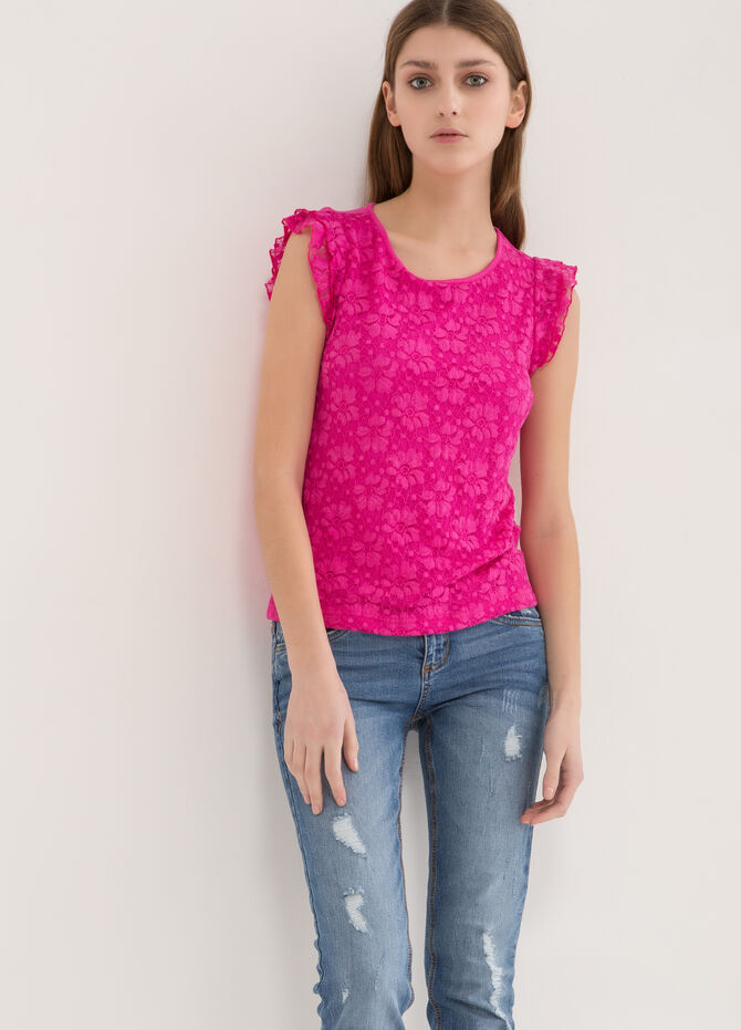 T-shirt stretch con pizzo