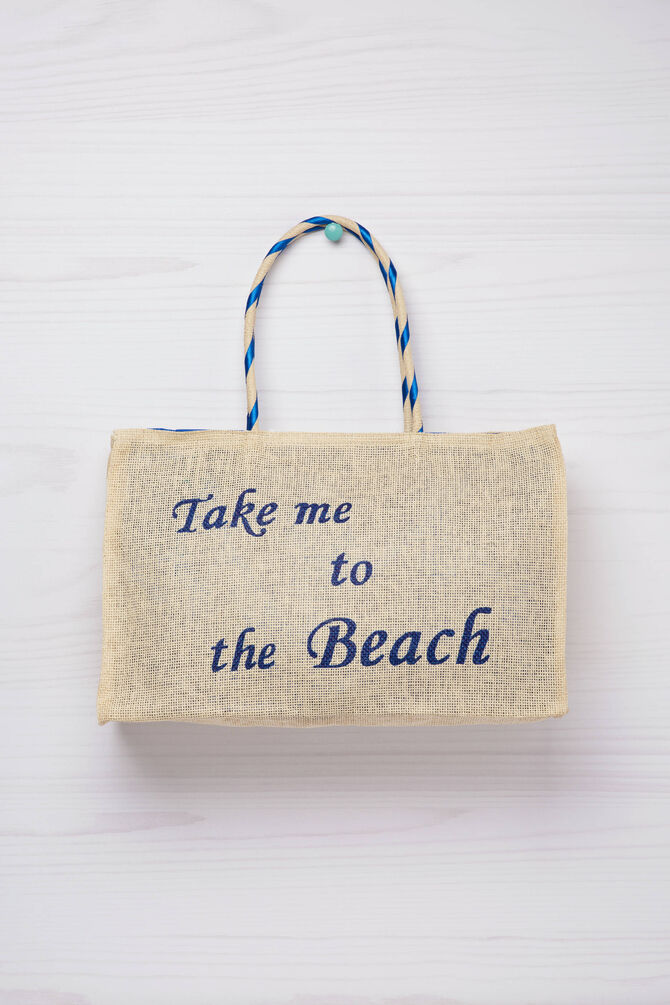 Handbag with printed lettering