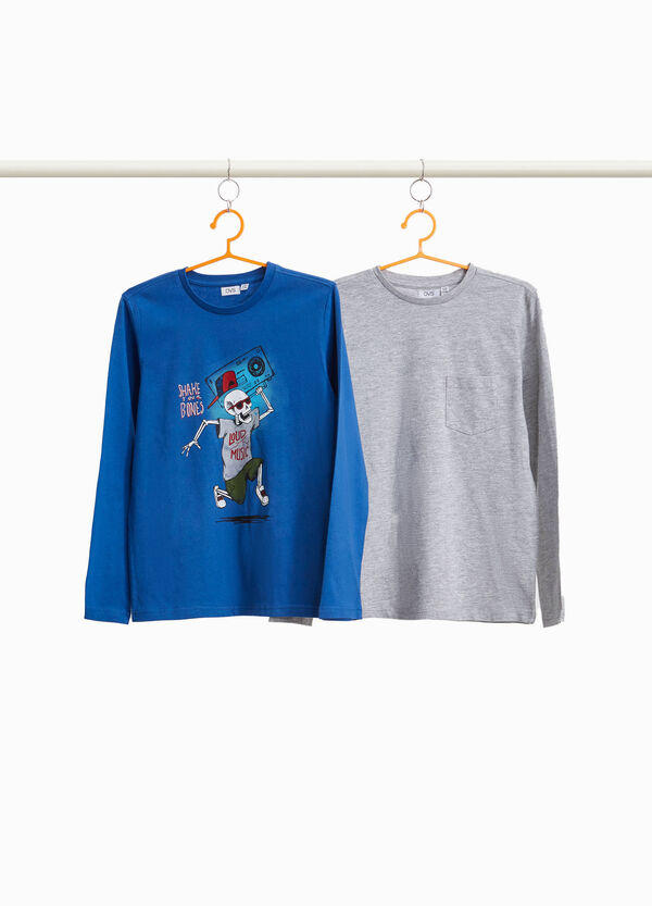 Two-pack T-shirts with pocket and skeleton
