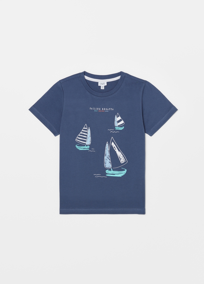 Short pyjamas with sail boat print image number null