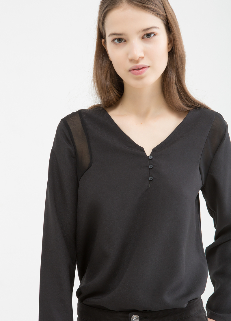 Blouse with semi-sheer inserts image number null