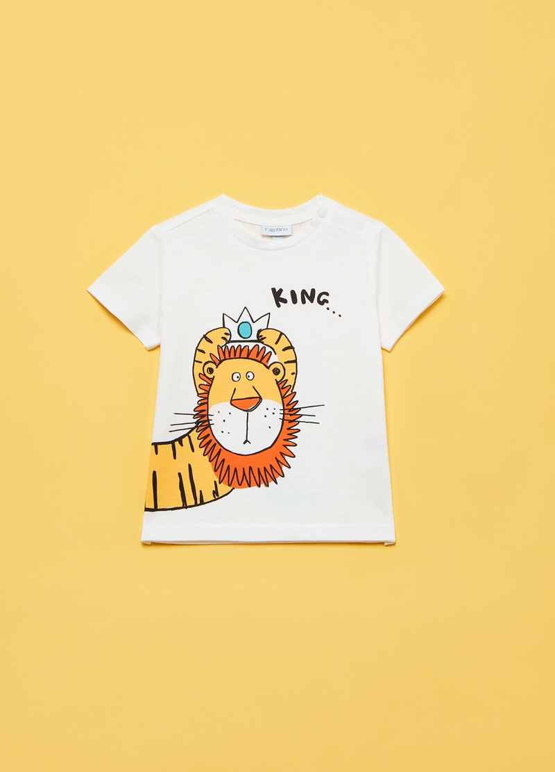 Slub T-shirt with lion print image number null