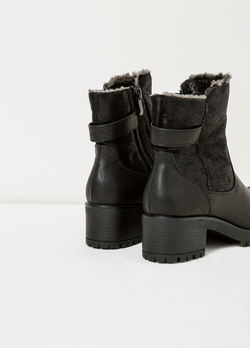 Hammered-effect ankle boots image number null