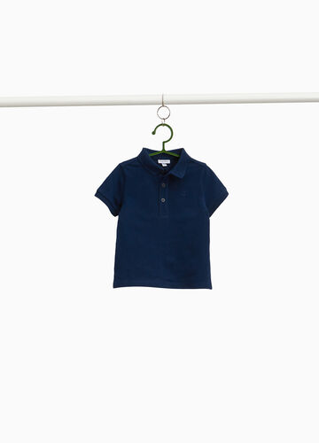 Polo piquet cotone stretch con ricamo