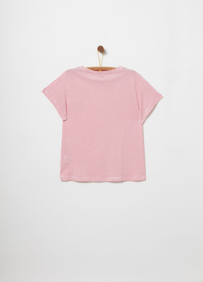Crop T-shirt with striped embroidery