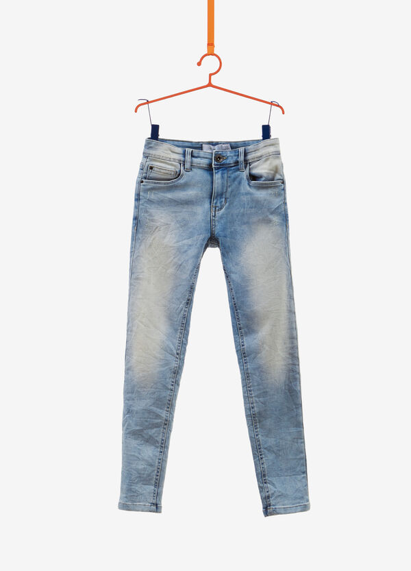 Washed-effect, slim-fit creased stretch jeans