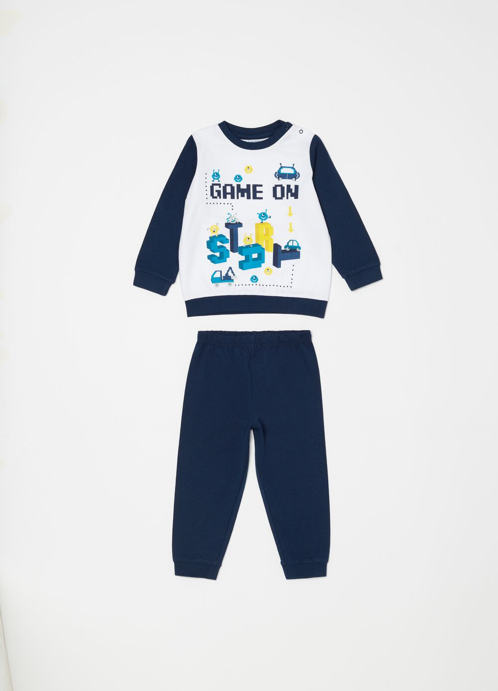 Biocotton pyjamas with monsters and lettering print