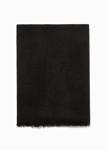 Solid colour fringed scarf