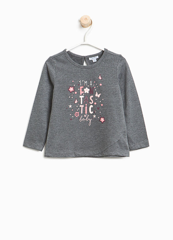 Cotton T-shirt with printed glitter lettering | OVS