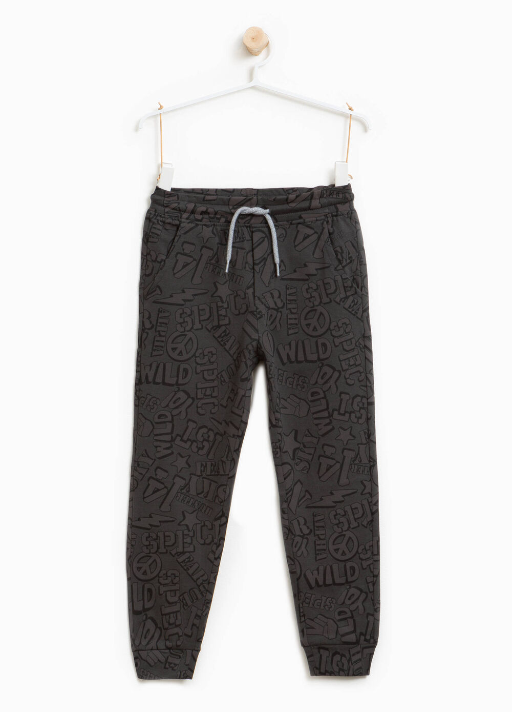 Cotton joggers with lettering pattern