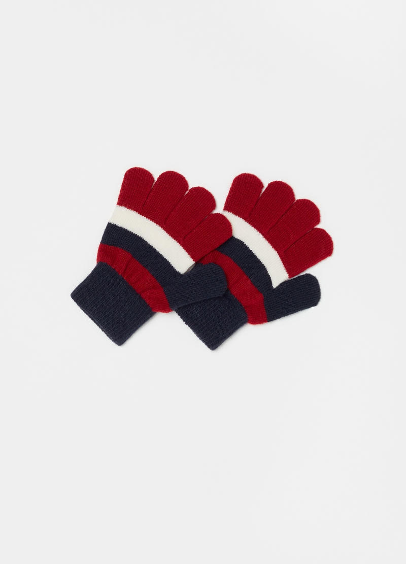 Striped stretch gloves image number null