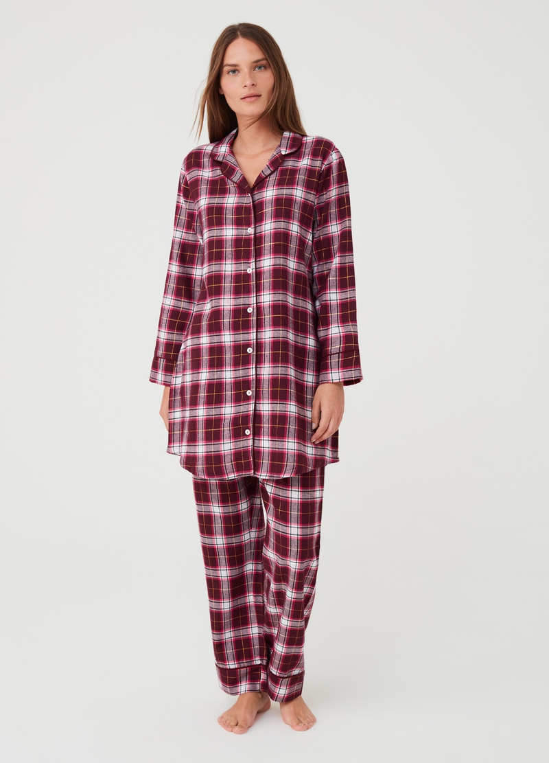 Nightshirt with check pattern and lurex image number null