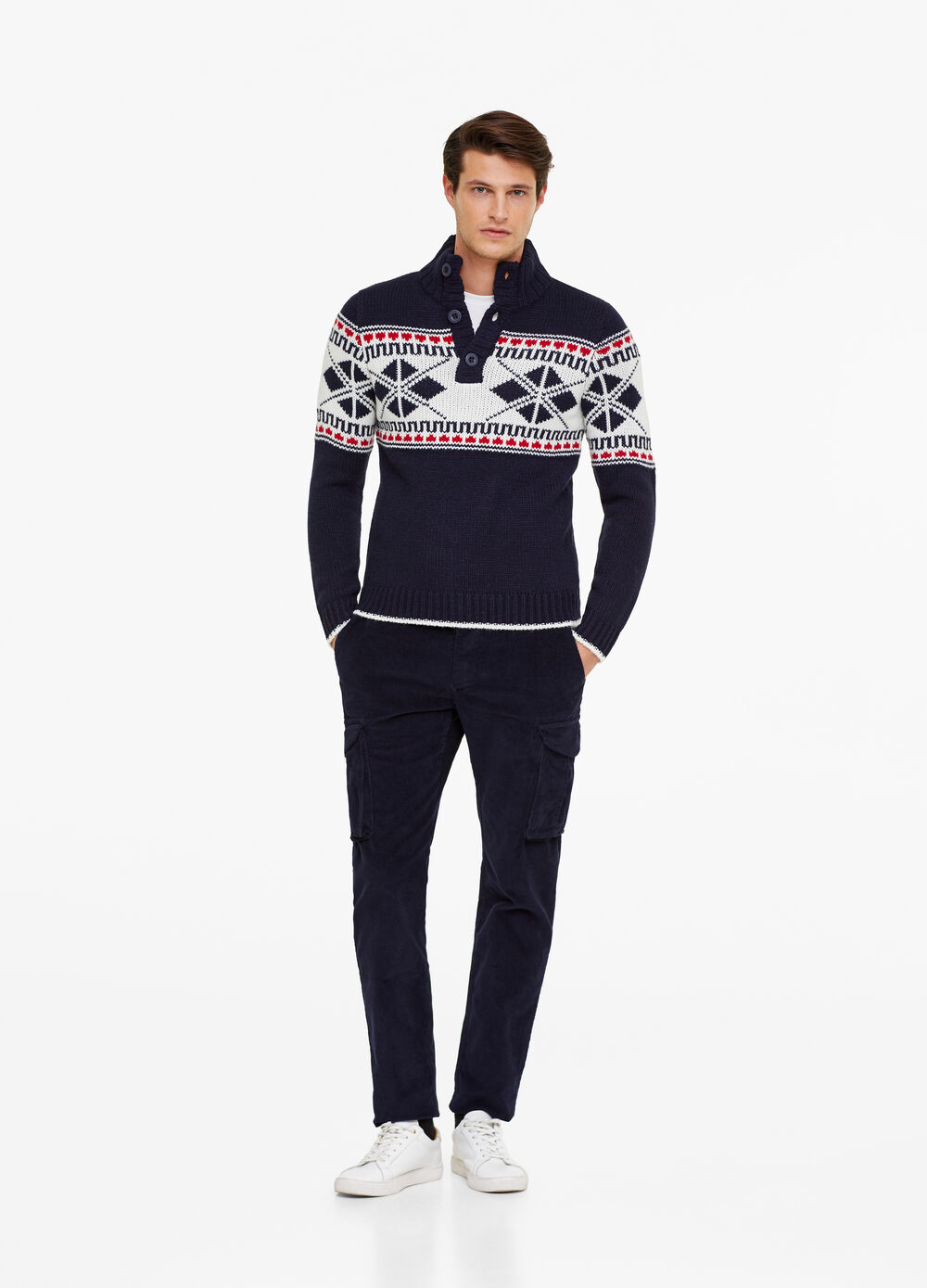 Christmas sweater with high neck and buttons